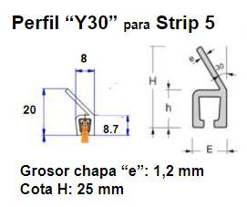 Perfil Y30 para cepillo strip 5