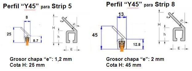 Perfil Y45 para cepillo strip 5 y 8