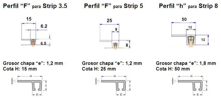 perfil aluminio F para cepillo strip