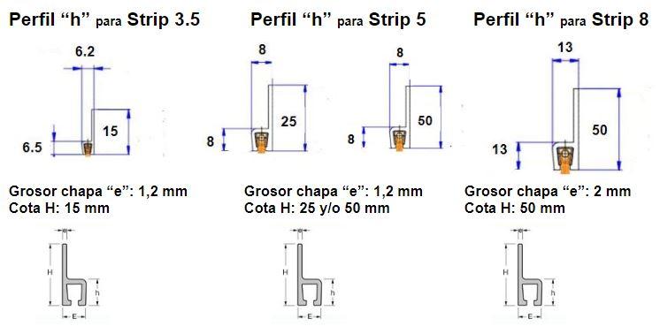 perfil aluminio h para cepillo strip