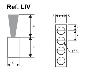 cepillo listón base rectangular