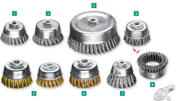 modelos de cepillos taza trenzados acero y laton